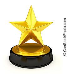 Golden star trophy - 3d render
