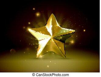 Golden star. Vector realistic 3d illustration.