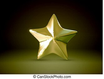Golden star. Vector realistic 3d illustration.