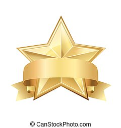 golden star with ribbon on white
