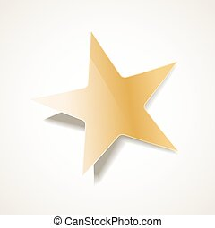 golden star with shadow on white background