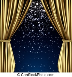 Golden starry curtain