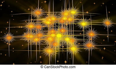 Golden, starry, vintage background with rays of light