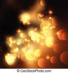 Golden stars and bokeh lights background