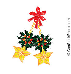 Golden Stars and Christmas Holly with Red Bow