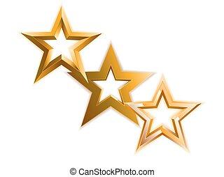 Golden stars background. Vector illustration.