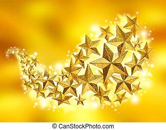 Golden Christmas celebration stars flow on gold dust sparkling background