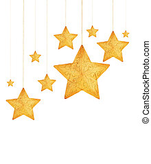 Golden stars Christmas tree ornaments - Golden stars,...