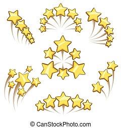 Golden stars design element set
