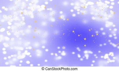 Golden stars falling over beautiful soft purple background,...
