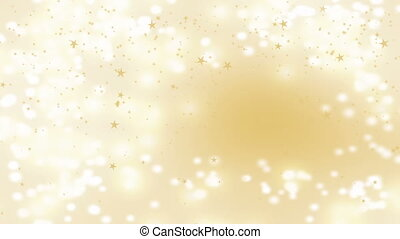 Golden stars falling over beautiful soft golden background, blurred lights and sparkles