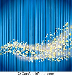 golden stars flowing over blue curtain background