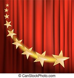 golden stars flying over red curtain background with...