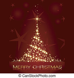 Golden stars forming a glistening Christmas tree on dark red background.