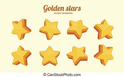 Golden stars in different positions collection. Template for mobile game. Achievement concept.
