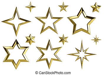 Golden stars - isolated