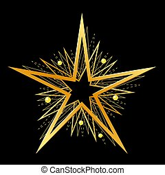 Golden stars on black background. Vector illustration.
