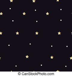 Golden stars on black sky
