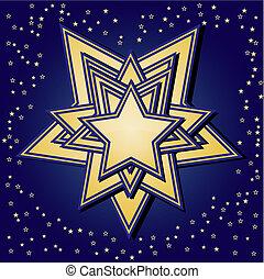 Golden stars on blue background