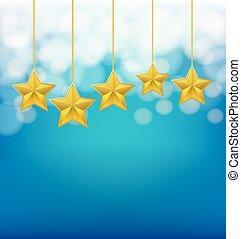 golden stars on ropes on blue blurred background