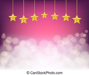 golden stars on ropes on purple background