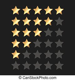Golden Stars Rating Panel Set. Vector