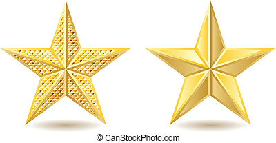 Golden stars - Two shiny golden stars on white background.