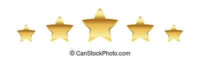 Golden stars. Vector illustration. - Five golden stars. ...