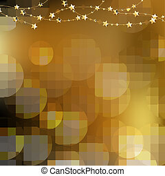 Golden Stars With Bokeh Background