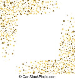 Golden stars with white square in the middle. Abstract background. Glitter pattern for banner.