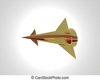 Golden Starship Figh - Isolated golden starship fighter