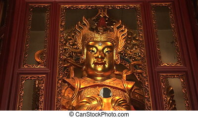 Golden Statue, Jade Buddha Temple, Shanghai, China, zoom in