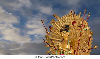 Golden statue of Buddha - Buddhist Temple. Golden statue of...
