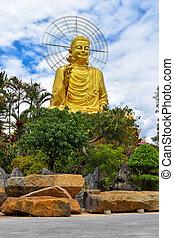 Golden Statue of Sakyamuni Buddha at Van Hanh Pagoda in Da Lat, Vietnam