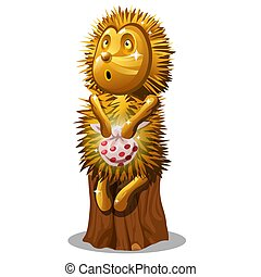 Golden statuette in the form of a hedgehog with a bag sitting on a stump isolated on white background. Vector cartoon close-up illustration.