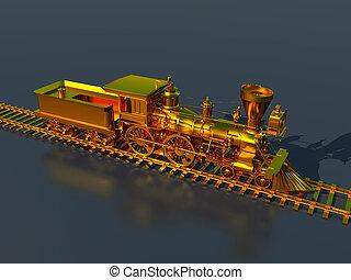 Golden steam locomotive