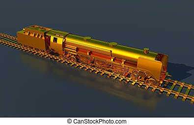 Golden steam locomotive