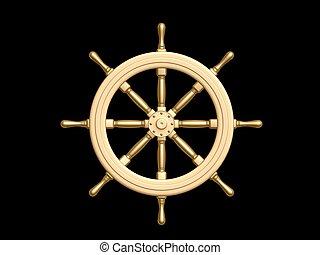 Steering wheel - golden Steering wheel isolated on black ...