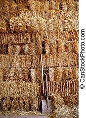 Golden straw barn stacked