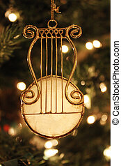 Golden Stringed Instrument Christmas Ornament Hanging on Christmas Tree