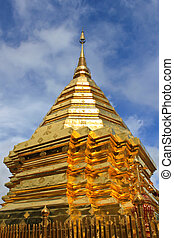 Golden Stupa Of Doi Suthep Temple In Chiang Mai,Thailand