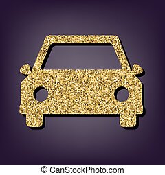 Car icon. Shiny golden style vector illustration.