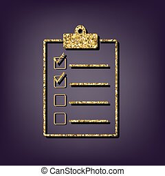 Checklist icon. Shiny golden style vector illustration.