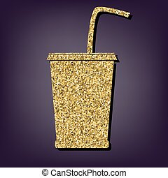 Drink icon. Shiny golden style vector illustration.