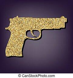 Gun icon. Shiny golden style vector illustration.