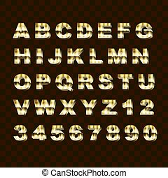 Golden Style Upper Case Alphabet Letters and Numbers Collection