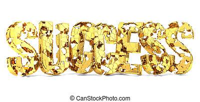 golden success missing pieces 3d render