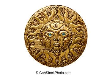 golden sun handcraft from Mediterranean isolated on white...