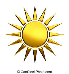 Golden sun isolated in white background