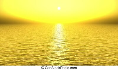 golden sun light reflecting on sea